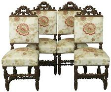 DINING CHAIRS HUNTING RENAISSANCE 1880 FRENCH CARVED OAK  CREAM RED GOLD SET 4