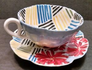 Anthropologie Ceramic Cup & Saucer Set Modern Graphic Blue Yellow Red Retired