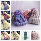 Women Men Ball Winter Crochet Cap Warm Knit Ski Beanie Wool Baggy Hat