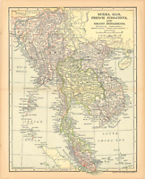 """Original 1903 Antique Map Burma Siam French Indo China Collectible 12X10"""""""