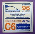 alter Aufkleber Sticker, Camping Formel 1 Grand Prix Deutschland Hockenheim 1996