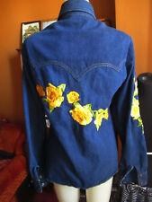Large True Vtg 70s Antonio Guiseppe Embroidered Rose Indigo Denim Shirt Jacket