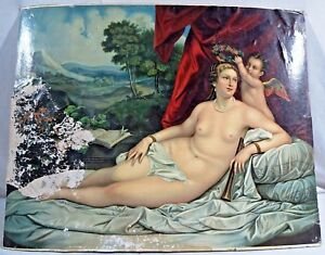 VINTAGE LITHOGRAPH PRINT NUDE LADY CHERUB WREATH OLEOGRAPH RARE COLLECTIBLES OLD