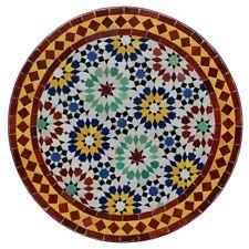 Rond Marocain Table en Mosaïque Bistrotisch de Pierres D60cm Ankabut Rouge