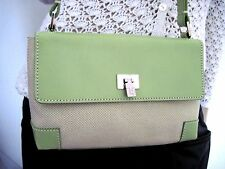 LAMBERTSON TRUEX Light Green Leather Canvas Speckled Mini Shoulder Handbag