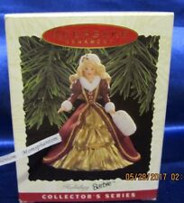 Hallmark Ornament 1996 Holiday Barbie Victorian 4th in Series Maroon and Gold