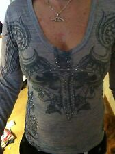 Sinful Affliction Gray Burnout T shirt BLING Dagger Wings Roses V Neck Small