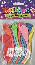 10 x AGE 40 HAPPY BIRTHDAY BALLOONS MULTI  COLOUR  PARTY DECORATIONS  (SE)