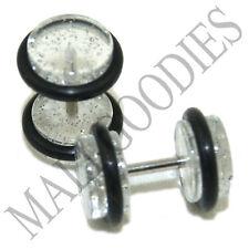 1170 Fake Cheater Illuion Faux Plugs Studs Gauges Clear Glitter 0G Look 16G Bar