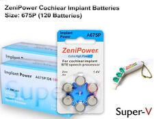 Cochlear Implant Batteries, Zenipower 675P (120 Batteries) +Keychain/4 Batteries