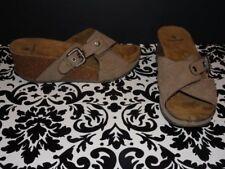 22ca716761d6 Women s Wedge Sandals Buckle Open peep Toe Brown Shoes size 9 M RUFF HEWN