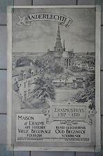 Affiche 1932 !  La Maison d'Erasme & la collégiale des Saints-Pierre-et-Guidon