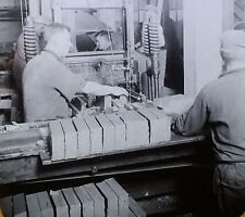 Making Bricks, Pressing Clay into Brick Shapes, Magic Lantern Glass Photo Slide