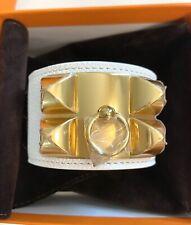 NEW HERMES CDC Collier De Chien Bracelet WHITE EPSOM GOLD HARDWARE BIRKIN KELLY
