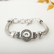 Women Fashion Snap Charm Bracelet Jewelry Fit 18MM Ginger Snap Chunk Button New