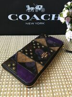 BNWT Coach Black Multi Signature Patchwork Accordion  Zip F78032  Wallet