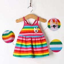 0-18M Kid Newborn Baby Girl Rainbow Striped Sundress Toddler Sleeveless Dress