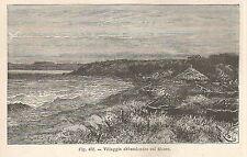 A2751 Villaggio abbandonato sul Moere - Xilografia antica del 1895 - Engraving