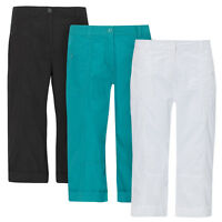 Ladies Womens Capri Pants Trousers Shorts Cropped Cotton 3/4 Three Quarter CARLA