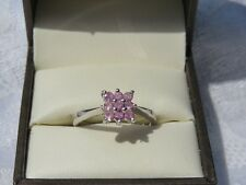 9 CARAT WHITE GOLD AMETHYST CLUSTER RING VERY GOOD USED CONDITION