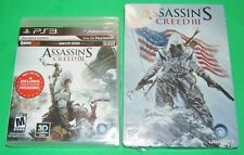 PS3 ASSASSIN'S CREED III Pre-order Metal Case & Game New/Sealed