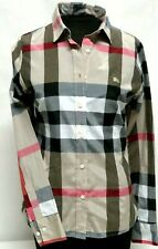Stylish Burberry Brit Women's Taupe Plaid Check Button Down Blouse Size 40 NWOT