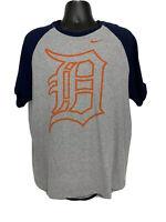 Nike Detroit Tigers Short Sleeve Gray Blue Orange T Shirt Men's XL Regular Fit