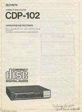 Sony CDP-102 Original CD Player Owners Manual