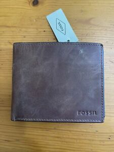 Fossil Derrick Leather RFID-Blocking Bifold with Coin Pocket Wallet, Brown