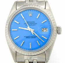 Rolex Datejust Mens Stainless Steel Watch Jubilee Band Blue Dial 1603