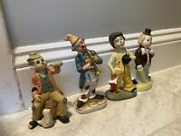 Vintage CLOWN Figurines Porcelain Lot of 4 Collectible Rare Circus Musical 40