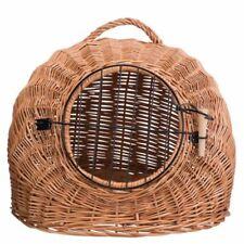 Cat Basket Wicker with Wire Mesh Door and Handle Ideal For Short Journeys Car