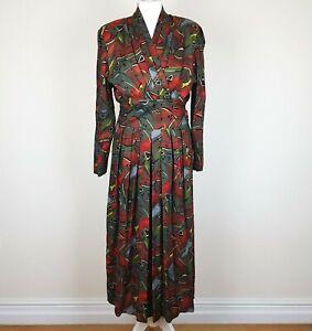 Vintage M&S ST MICHAEL Midi Dress 16 Multi Abstract Long Sleeve Pleated V Neck