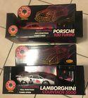 TWO SUPER RARE 1989 MATCHBOX L.A. WHEELS 1/18 R/C CARS PORSCHE LAMBORGHINI NRFB