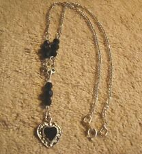 Tone Black Beaded Necklace! Black Flower And Heart Silver