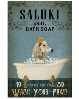 Vintage Saluki Co Bath Soap Wash Your Paws Poster Art Print Decor Home