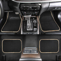 Universal Car Carpet Floor Mats Black Beige Non-slip 4PCS For Sedan Truck SUV