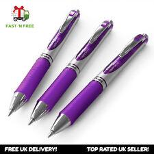 3 x Pentel BL77 EnerGel Retractable Gel Rollerball Pens - 0.7mm Tip - Violet Ink