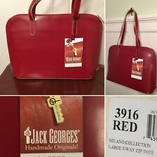 New w/ Tags JACK GEORGES Milano Red Leather Zip Laptop Briefcase Tote Bag #3916