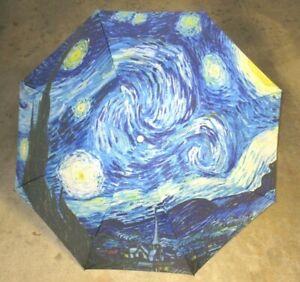 Starry Night Van Gogh Print Compact Travel Umbrella Black Blue NWT SHIPS FREE