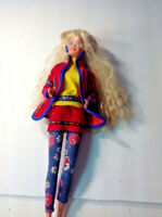 Barbie Doll Blonde WAVY Hair In Floral TRIMMED PANTS AND SUIT 1966 VINTAGE  DV59