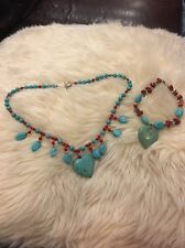Turquoise Heart Necklace And Matching Bracelet Set Genuine Must Have