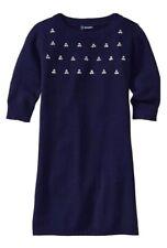 Old Navy Girls Rhinestone Embellished Sweater Dress L 10 12 Navy Blue Modest EUC
