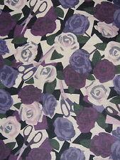 Liberty TANA LAWN ALGODÓN 1.00 MTR de rosas de papel en púrpura