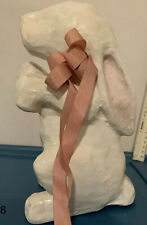 Papier Mache Decorative Rabbit - White with Pink Bow