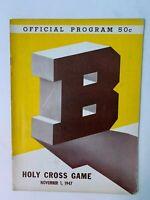 1947 Brown Bears vs Holy Cross Crusaders Football Program Joe Paterno GOOD+