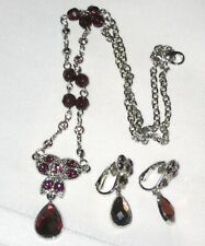 Sparkly Silver-tone Purple Rhinestone Necklace and Clip Earrings