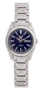 Seiko 5 Classic Ladies Size Blue Dial Stainless Steel Strap Watch