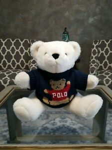 Ralph Lauren Polo White Teddy Bear Plush Sweater 1999 Stuffed Jointed Legs