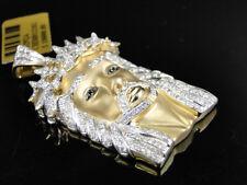 10k Oro Amarillo Diamante Blanco Mini Cara Jesus Piece Cabeza Charm Colgante